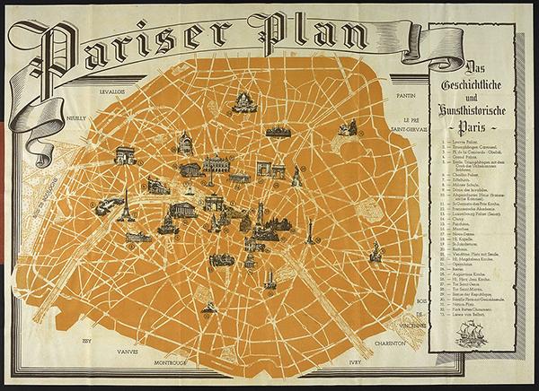 Туристическая карта Парижа времён немецкой оккупации 1940